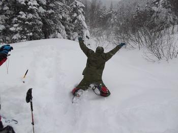 雪面へダイブ